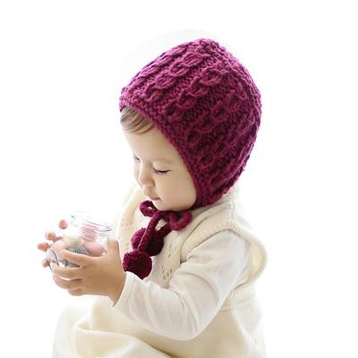 Warm Cotton Knitted Baby Hat Lace Up Baby Bonnet Cap