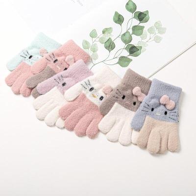 Winter Knitted Children's Gloves Warm Soft Rabbit Wool Cartoons Kids Gloves