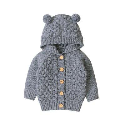 Cute Kid Baby Hooded With Ear Winter Warm Cardigan Coat Outerwear