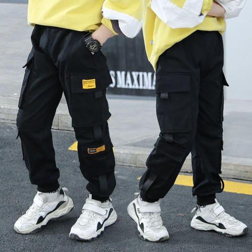 Boys Pants Solid Cargo Pants Teenage Boy Multi-Pocket Trousers