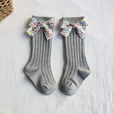 Girls Socks Flower Bows Knee High Long Soft Cotton Baby Socks