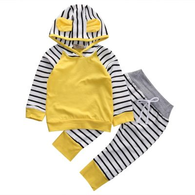 Newborn Baby Boys Romper Hooded Sweatshirt Pants Striped Infant Kids Fall Clothes