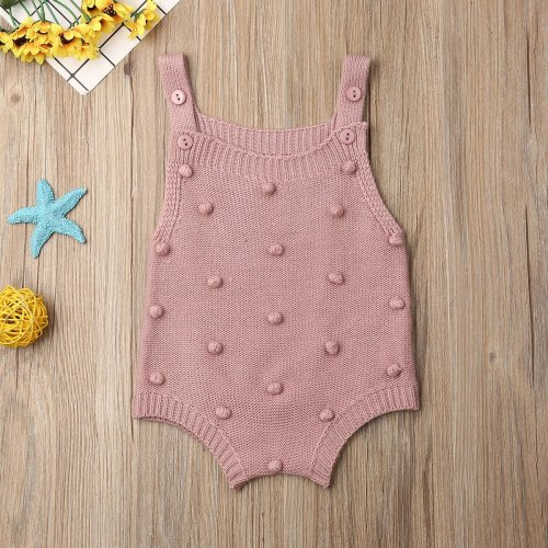 Infant Newborn Baby Girl Knit Dots Jumpsuit Solid Bodysuit Sleeveless Outfit