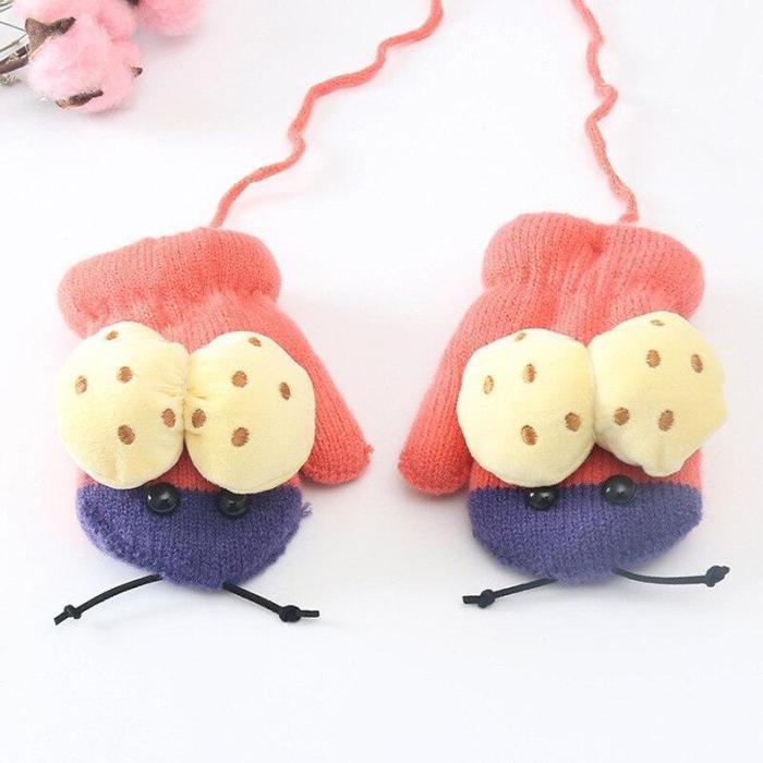 Cartoon Beatles Thick Warm Baby Gloves Children Kids Plus Velvet Winter Knitted Full Finger Mittens