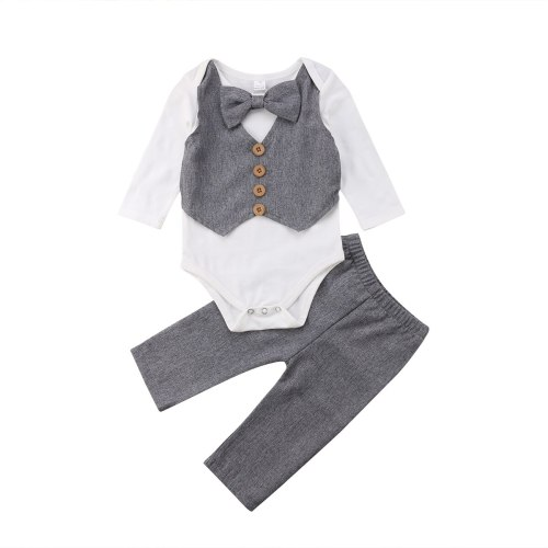 Kids Baby Boy Gentleman Bow Tie Shirt Tops Romper and Pants Party Formal Set Clothes