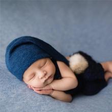 Newborn Photography Props Knit Fur Ball Hat Beanie Baby Cap