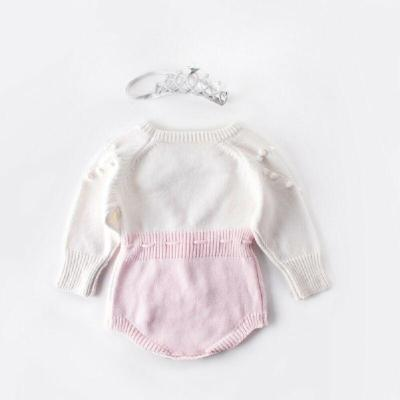 Baby Girl Knitted Bodysuit Love Heart Drawstring Waist Jumpsuit