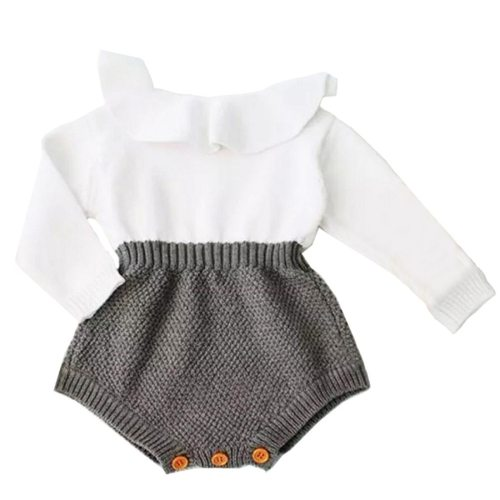Newborn Baby Girl Clothing Rompers Wool Knitting Tops Long Sleeve Romper