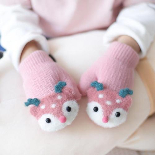 Baby Cute Deer Gloves with Sound Winter Knit Wool Newborn Mittens