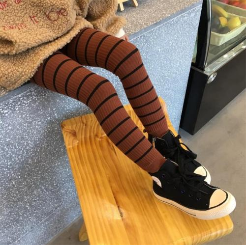 Autumn Winter Kids Girls Leggings Cotton Striped Leggings