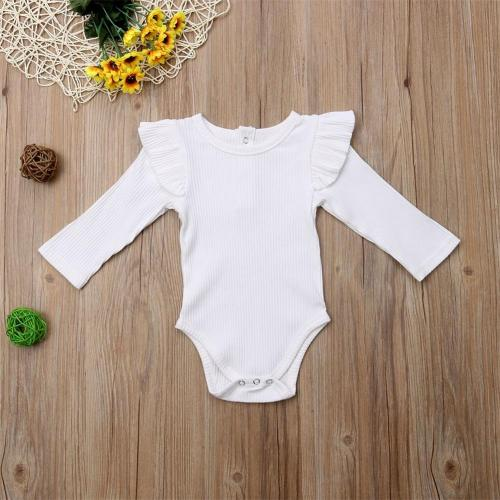 Newborn Infant Baby Girls Causal Bodysuits Ruffles Long Sleeve Jumpsuits Outfit