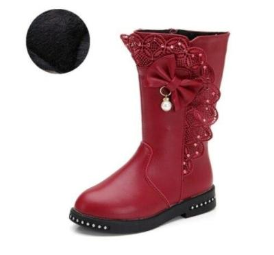 Children's Snow Boots Winter Warm Girls Leather Fashion Princess Boots Plus Velvet Lace Bow Shoes