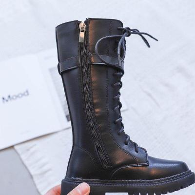 Kids Fashion Princess Knee-length Martin Boots PU Leather Waterproof Girl Shoes