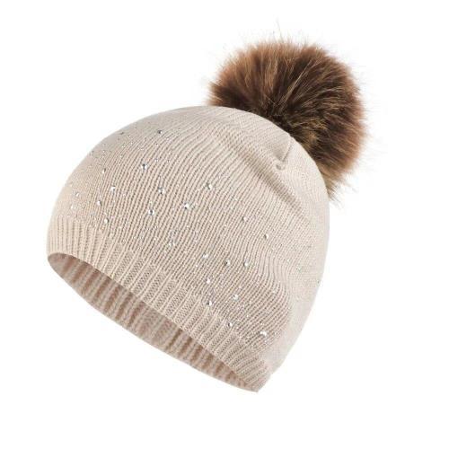 Cute Baby Knitting Wool Hemming Hat Rhinestone Keep Warm Winter Hairball Cap