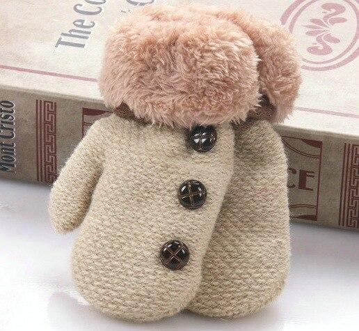 Winter Baby Knitted Gloves Warm Rope Full Finger Mittens Hanging Neck Gloves