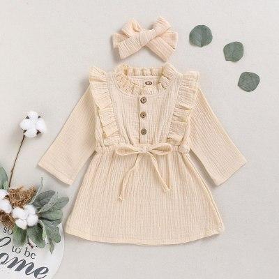 Kids Girls Cotton Linen Solid Dress Long Sleeve Button Ruffle Princess Dresses