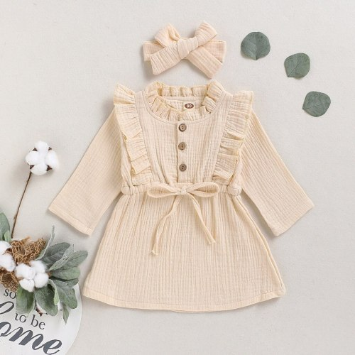 Kids Girls Cotton Linen Solid Dress Long Sleeve Button Ruffle Princess Dresses