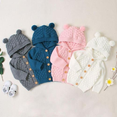 Cute Kid Baby Hooded With Ear Winter Warm Cardigan Coat Outerwear