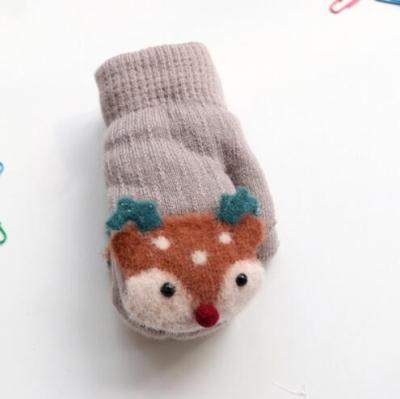 Baby Cute Deer Gloves with Sound Winter Knit Wool Newborn Mittens