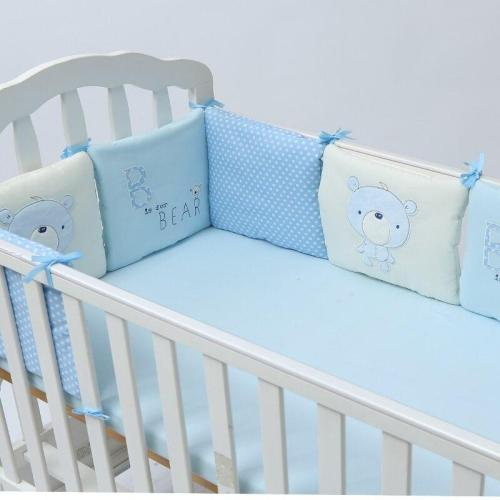 Velvet Stitching Infant Baby Bumpers Kids Cotton Nursery Bedding Baby Linen Baby Crib Set