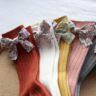 Girls Socks Flower Bows Knee High Long Soft Cotton Baby Socks