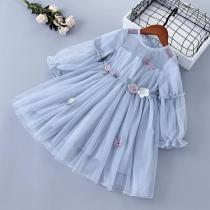 Spring Girl Dress Lace Chiffon Flower Draped Ruched Girl Princess Dress