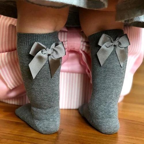 Baby Socks Knee High Cotton Spanish Style Big Bow Floor Socks