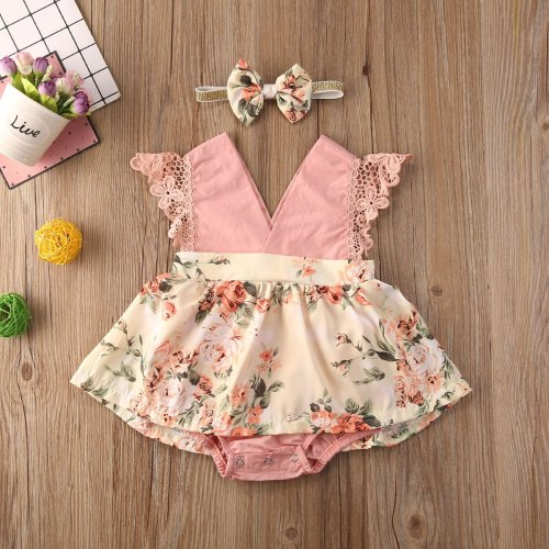 Newborn Baby Girl Sleeveless Lace Ruffle Flower Print V-Neck Romper