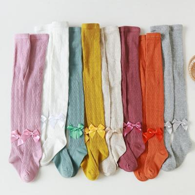 Bowknot Tights For Girls Children's Pantyhose Knitted Kids Tights Cotton Pants