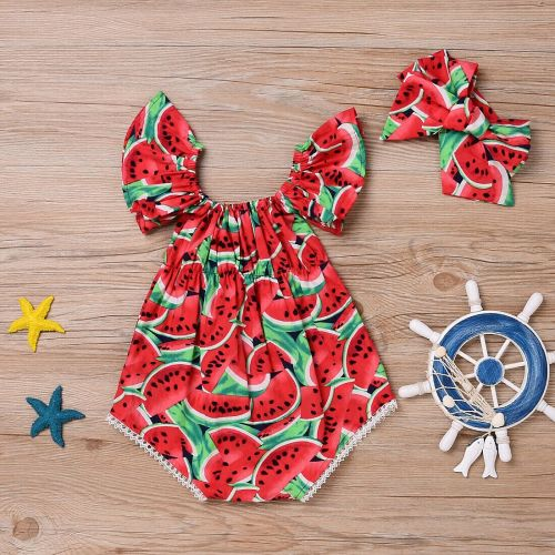 Newborn Baby Girl Watermelon Cute Bodysuit Jumpsuit Outfit
