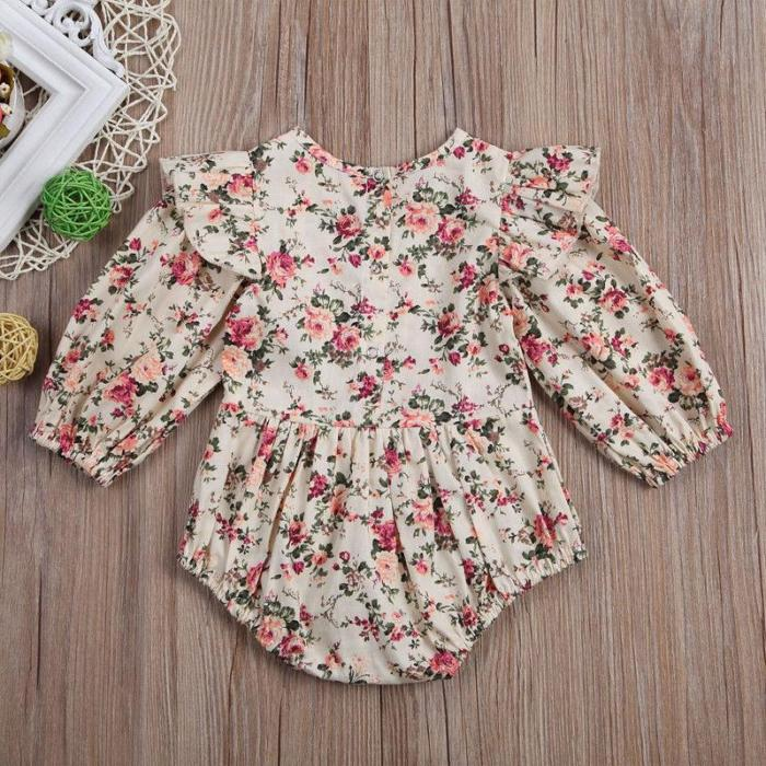 Flower Infant Toddler Baby Girl Romper Vintage Long Sleeve Neborn Girl Jumpsuit