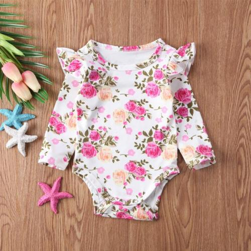 Cute Newborn Baby Girls Flying Sleeve Romper Outfits Jumpsuit