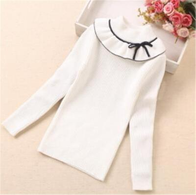 Teenager School Girls Pullover Toddler Knitted Long Sleeve Sweater