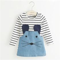 Striped Patchwork Character Girl Dresses Long Sleeve Cute Mouse Girls Dress
