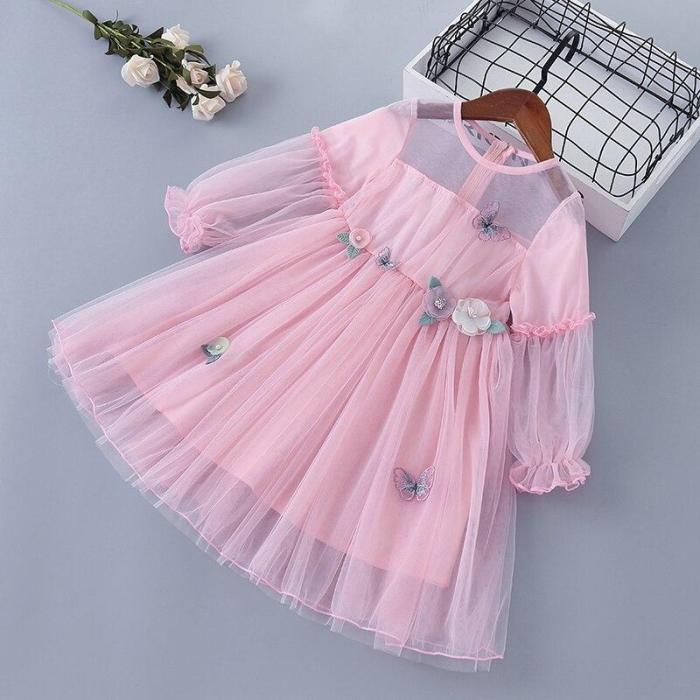 Spring Girl Dress Lace Chiffon Flower Draped Ruched Girl Princess Dress