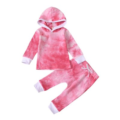 Toddler Boy Fall Clothes Set Long Sleeve Tie Dye Hooded Top and Harem Pants 2Pcs Outfits Set