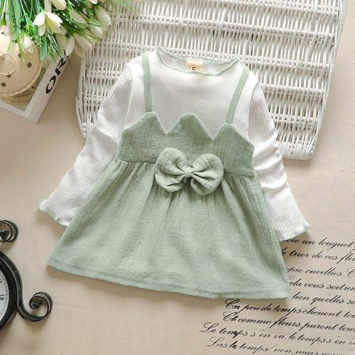 Baby Girls Autumn Dress Toddler Kids Striped Patchwork Long Sleeve Dress
