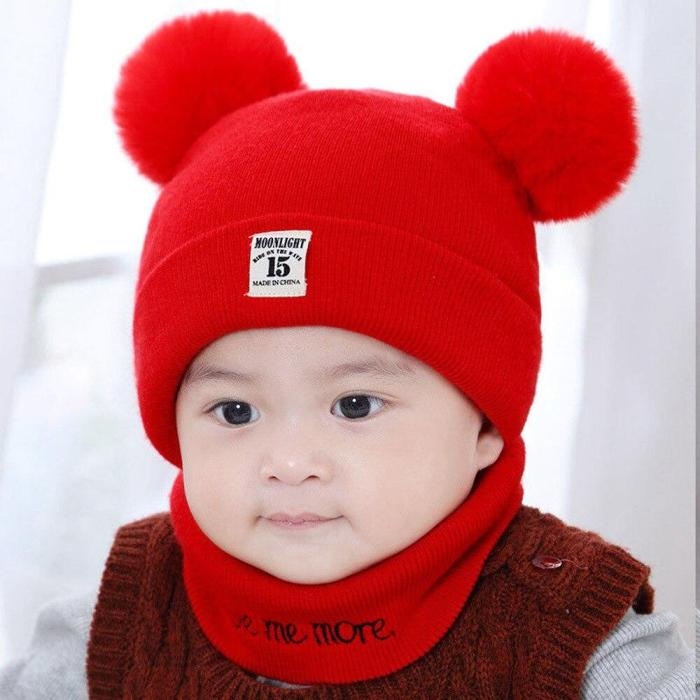 Children Hats Cap Warm Wool Hooded Hat Baby Scarves Toddler Caps