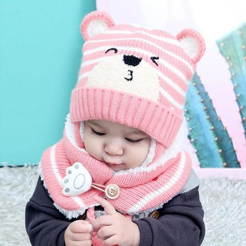 Kids Winter Hats Children Crochet Warm Caps Scarf Set