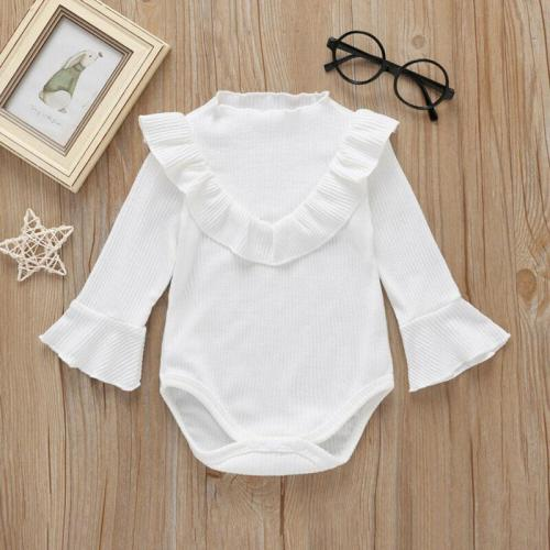 Newborn Baby Girl Ribbed Jumpsuit Bodysuit Flare Long Sleeve