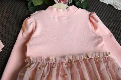 Long Sleeve Turtleneck Kids Girls Dress Princess Dress Ball Gown with Sequined