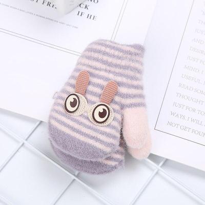 Baby Plush Cartoon Winter Warm Gloves Infant Thicken Stripes Knitted Woolen Mittens