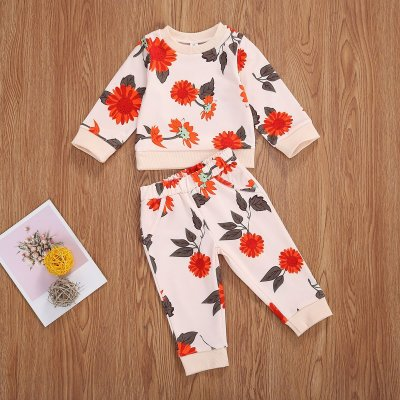 Baby Boys Clothes Sets Flowers Print Long Sleeve Pullover Sweatshirts Tops Pants