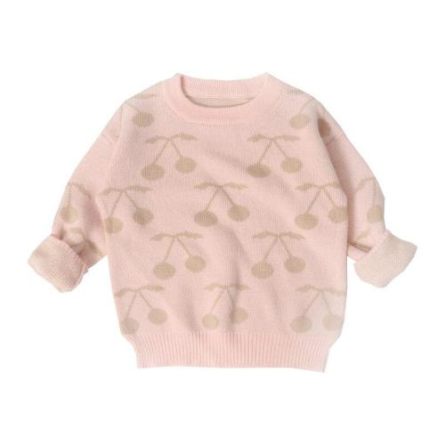 Baby Girls Sweater Cherry Pattern Sweet Children Tops Sweater Cardigan