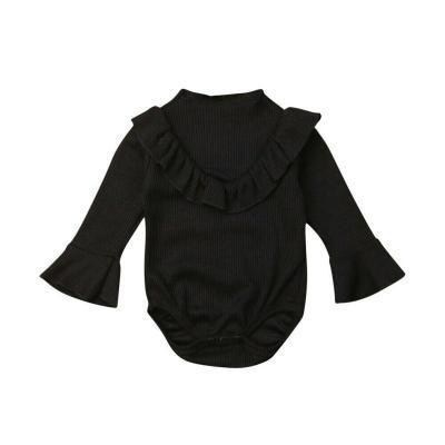 Newborn Baby Girl Ribbed Jumpsuit Bodysuit Flare Long Sleeve