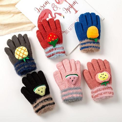 Baby Gloves Knitted Winter Cute 3D Fruit Gloves Warm Children Full Finger Gloves