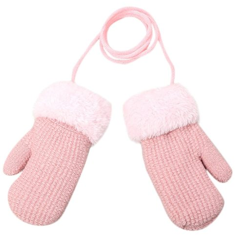Toddler Baby Outdoor Winter Patchwork Keep Warm Mittens Gloves