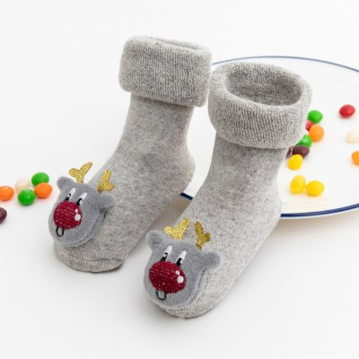 Toddler Kids Baby Christmas Santa Deer Anti-Slip Knitted Warm Socks