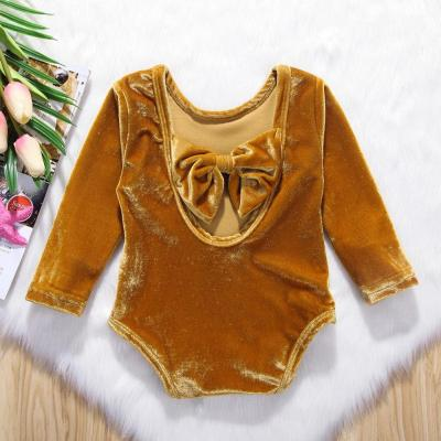 Newborn Toddler Infant Baby Girls Bowknot Bodysuit Long Sleeve Jumpsuit