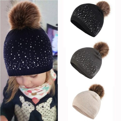 Cute Baby Knitting Wool Hemming Hat Rhinestone Keep Warm Winter Hairball Cap